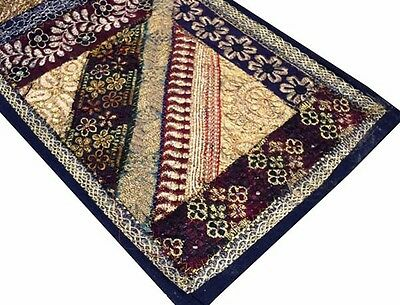 """60"""" Antique Textile Beaded Sequin Pearl Sari Tapestry Wall Hanging Throw Runner"""