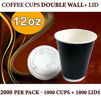 Disposable Paper Double Wall Coffee Cups 12 oz 1000 Pc Cups+Lids 1000 Pc