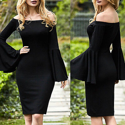 Plus Size Women Sexy Off Shoulder Flare Sleeve Party Evening Cocktail Mini Dress