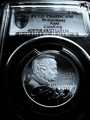 1974D Pcgs Pr68 Dcam Proof 68 Deep Cameo Unc. Germany 5 Mark Silver German Coin