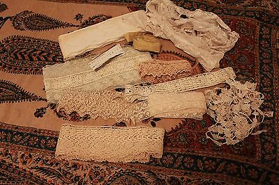 Lot Antique Lace Trim Victorian Clothing Remnants Yardage Filet Turtle Irish