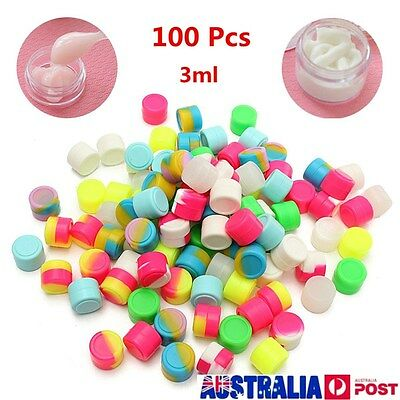 100 Pcs 3ML Round Silicone Non Stick Concentrate Containers Jar Mixed Colors Lot