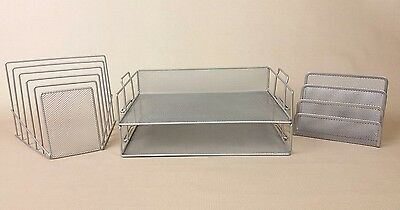 3 pc Silver Metal Mesh Desk Set ~ Stackable Paper Tray, Letter & File Organizers