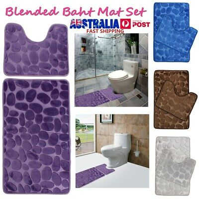 Microfibre Bath Mat Set Non Slip Rug Bathmat Toilet Shower Bathroom Anti Contour