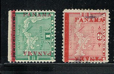 2 PANAMA classic stamps, 1904  Red overprint Sc 76 OG, hinged,  77 cancelled. VF