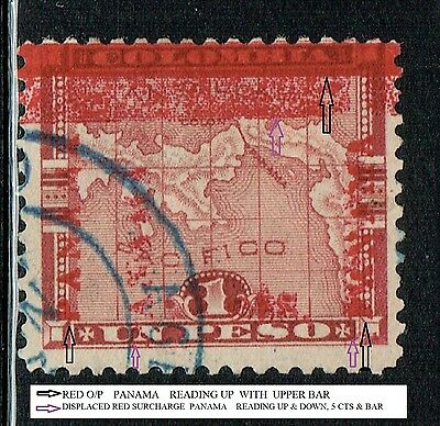 PANAMA 1906  overprint & displaced surcharge combination  cancelled, scarce