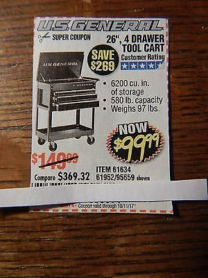 """$269 Harbor Freight Coupon for a 26"""", 4 Drawer Tool Cart - pay only $99.99"""