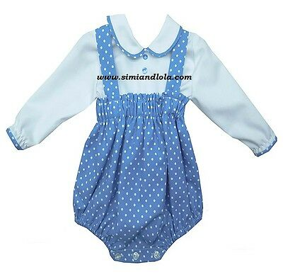* New Winter * Baby Boys Romany Spanish Blue Romper set spotty print 3-18Mths