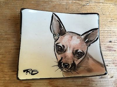Sierra Madre Art Festival Chihuahua Terrier Dog Ceramic Jewelry Dish Ring Tray