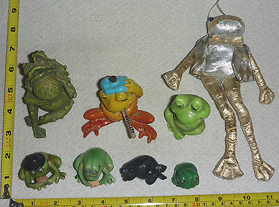 Lot of 8 FROG Figurines - Ceramic & Fabric - Very NICE !!   --  TAKE-a-LOOK!!