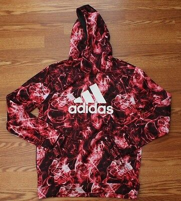 ADIDAS Kids Youth Flame Print Pullover Hoodie Size Large 14-16 Boys Girls