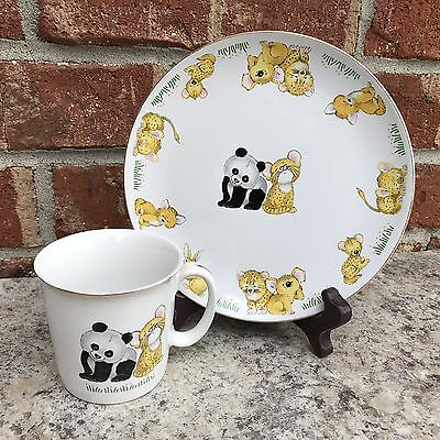 ACTION JAPAN Child Plate And Cup Baby Animals Vintage Panda Leopard Koala