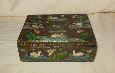 Antique Chinese Brass Enamel Box Ducks and Lily Pads
