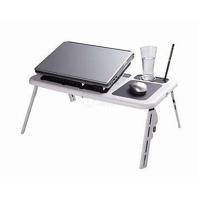New Adjustable Foldable Laptop PC Desk Table with Cooling Fan Stand Plastic