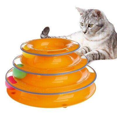 Pet Cat Kitty Crazy Ball Disk Interactive Amusement Plate Trilaminar Funny Toy