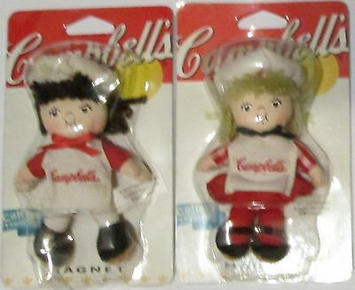 2002 Campbells Soup Chef Kids Magnet Dolls Collectible Plush Lot of 2