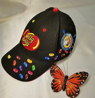 New W/ Tag Jelly Belly Beans Black Baseball Hat Colorful One Size FREE SHIPPING