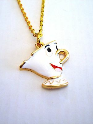 Chip The Cup Pendant Necklace Beauty And The Beast In Gift Bag White Gold