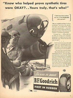 1944 WW2 AD BF GOODRICH Synthetic Rubber Aircraft Tires ART Boeing B-17  020416