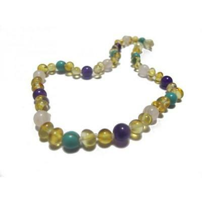 Amber , quartz , amethyst and Turquise necklace