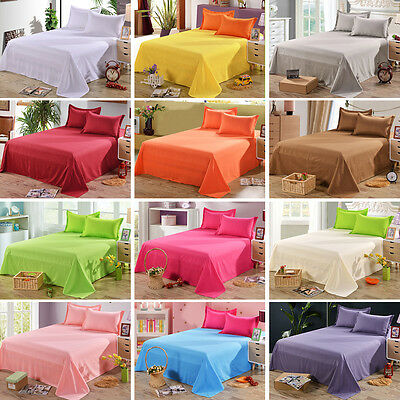 Cotton Flat Sheets Soft Solid Color Bed Sheet Pillowcase Single Twin Full Queen