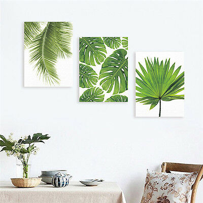 Nordic Green Plant Leaf Canvas Art Poster Print Wall Picture Home Decor