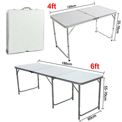 2/4/6FT Aluminum Folding Camping Picnic Table Home Party Outdoor Garden BBQ Desk