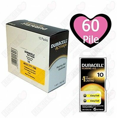 Duracell Activair Size 10 yellow tab Hearing Aid Battery 10 Pack of 6 cells (60)