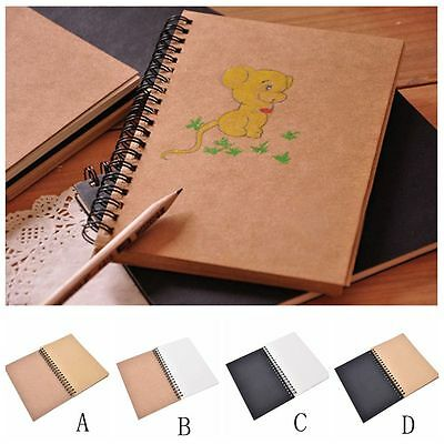 Kraft Sketching Paper Craft Retro Spiral Bound Coil Sketch Book Blank Notebook