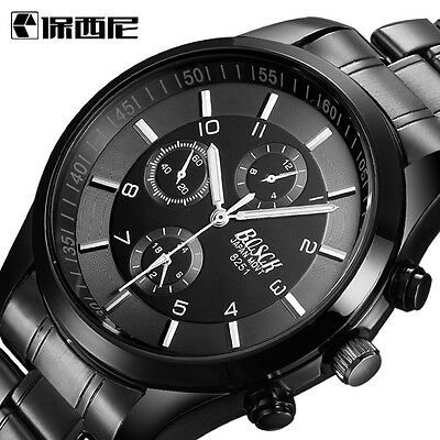 Fashion Luxury Men Date Stainless Steel Leather Analog Quartz Sport Wrist Watch