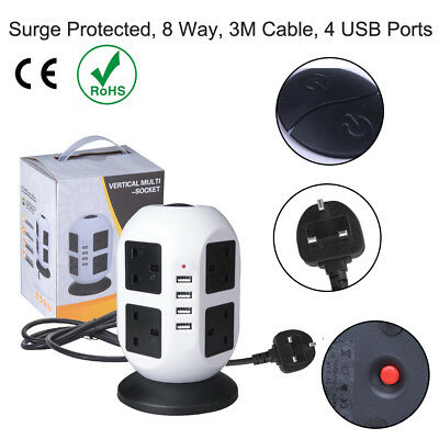 4 Way Gang 3m Switched Surge Protect Extension Lead with 2 USB Ports Portable