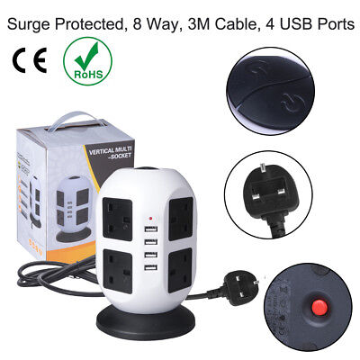 8 Way Gang 3m Switched Surge Protect Extension Lead with 4 USB Ports Portable