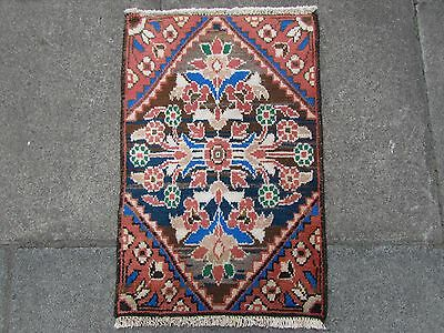 Old Traditional Persian Rug Oriental Hand Made Wool Pink Blue Small Rug 66x42cm