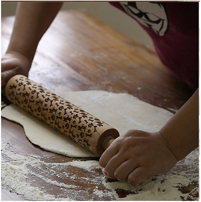 43cm Large Wooden Rolling Pin Pastry Chapati Cooking Baking Revoling Handles