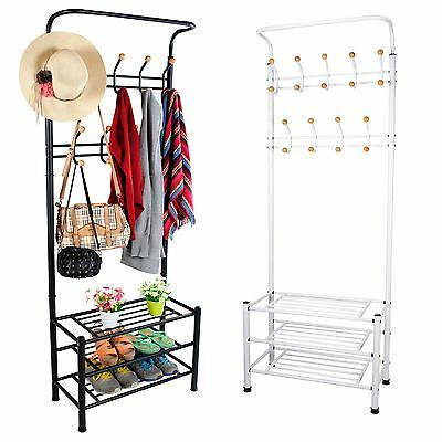 Metal Hat Coat Stand Clothes Shoes Rack Hooks Shelf Umbrella Steel Stand Hanger