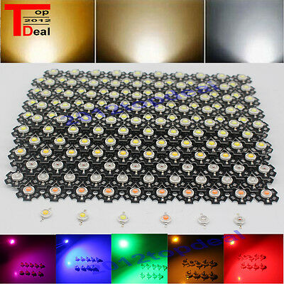 3W watts High Power SMD LED Chip Light Beads White Red Blue Green IR UV With PCB