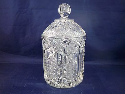 L E Smith Glass (McKee)  Quintec - Clear Candy Jar with Lid  Patt # 317