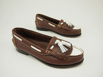 New 1990s BRASS PLUM SHOES Vintage Two-tone Kiltie Moccasin Loafer 5 M