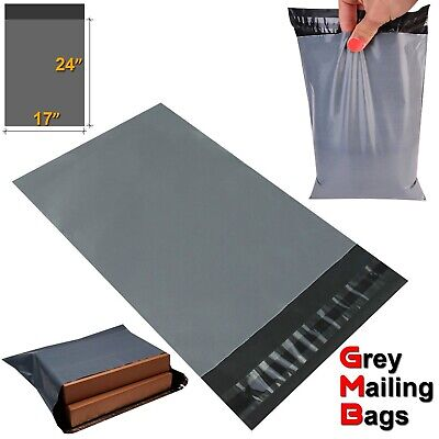 """17 x 24"""" Grey Mailing Bags Strong Parcel Postage Plastic Post Poly Self Seal"""