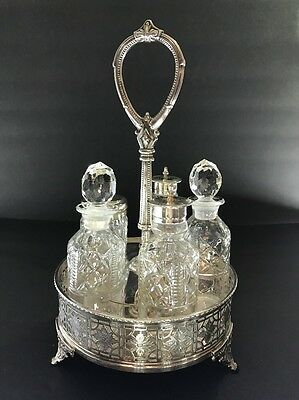 Antique VTG Silverplate Cruet Condiment 5 Piece Glass Set on Footed EPNS WG & Co