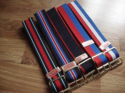 Vintage NOS UNION Stripe Nylon 18mm Watch Band, Goldtone Buckle, Various Colours