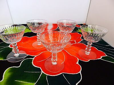 Wallingford Spikes Crystal By Tiffin Franciscan - 5 Rare Wine Glasses 1966