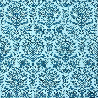 4x Paper Napkins - Royal Damask turquoise - for Party, Decoupage Craft