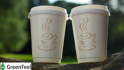 Disposable PAPER COFFEE CUPS DOUBLE WALL 8oz 12oz & SIP LIDS for Hot Cold Drinks