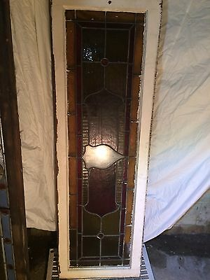 "LARGE ANTIQUE LEADED STAINED GLASS WINDOW 1800's L 56 1/2"" x W 18 1/2"" x T 1 1/2"