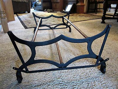 Victorian Cast Iron Wood MYSTERY Primitive Coffee Table Base Laundry Rack Holder
