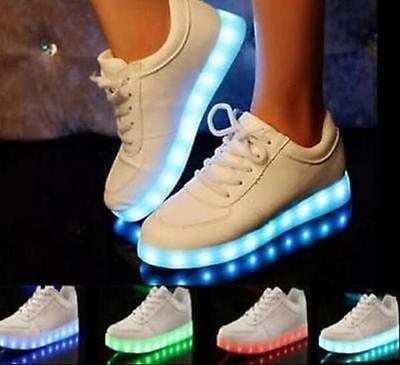 Unisex 7LED Lighted Shoes Lace Up Luminous Shoes Sportswear Sneaker Casual Shoes