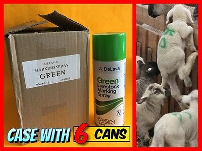 6x DELAVAL Green Livestock Marking Spray Cans 400ml/ea Made in Sweden NEW