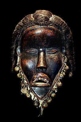 """Antique Authentic 19Th Century African """"dan"""" Dance Mask With Real Teeth!"""