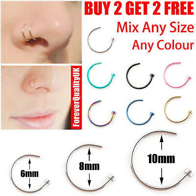 Small Thin Surgical Steel Open Nose Lip Ring Hoop Piercing Stud 7 Colour 3 Size